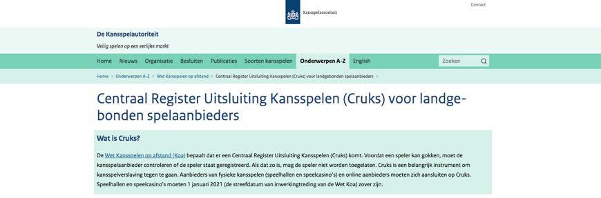 Centraal Register Uitsluiting Kansspelen (Cruks) voor landgebonden spelaanbieders