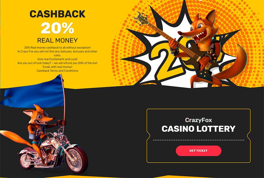 CrazyFox Casino Cashback