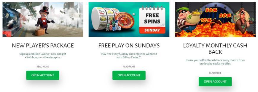 Billion Casino bonussen