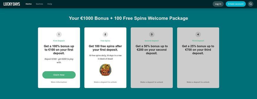 Lucky Days Casino bonussen