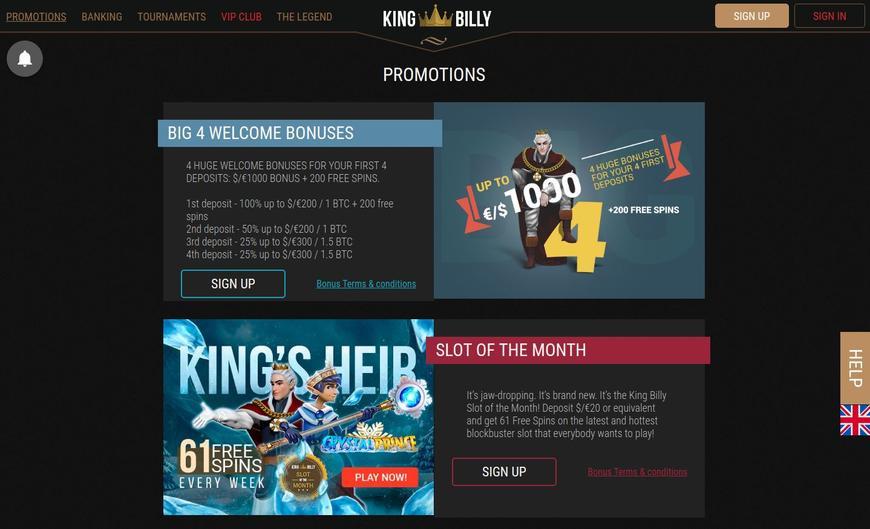 King Billy Casino bonussen